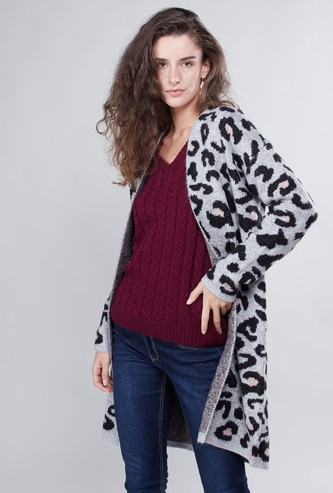 Animal Printed Coat with Long Sleeves