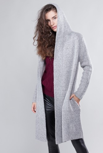 Textured Longline Cardigan with Hood and Pocket Detail