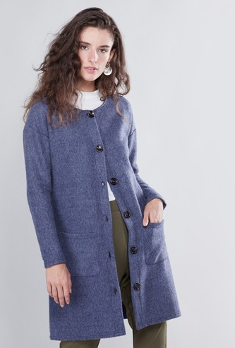 Textured Coatigan with Long Sleeves and Pocket Detail