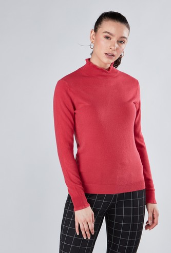 High Neck Acrylic Sweater with Long Sleeves