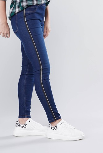 Skinny Fit Plain Mid Waist Jeggings with Elasticised Waistband
