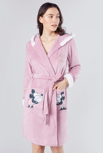 Mickey and Minnie Mouse Printed Sleep Robe with Long Sleeves