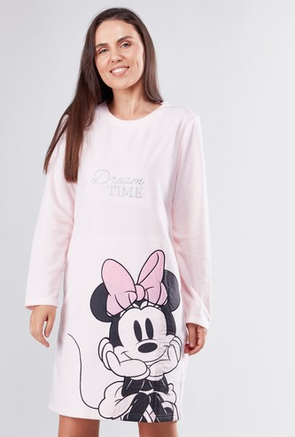 Minnie Mouse Printed Sleep Dress with Long Sleeves