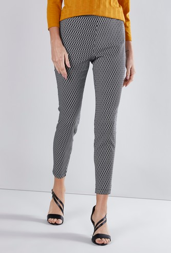 Printed Leggings with Elasticised Waistband in Slim Fit