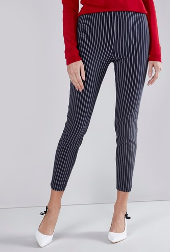 Slim Fit Striped Jeggings with Elasticated Waistband