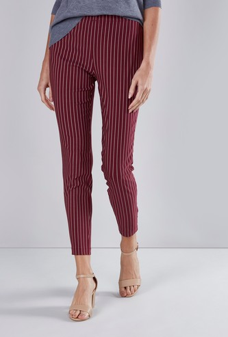 Slim Fit Striped Pants with Elasticated Waistband