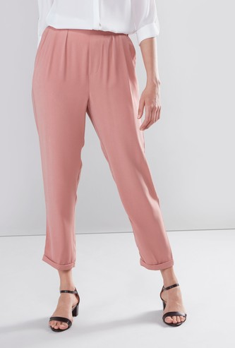 Mid Rise Plain Pants with Pocket Detail