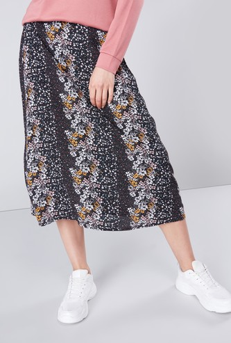 Floral Printed Skirt with Elasticised Waistband