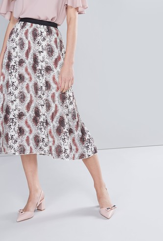 Printed Midi Skirt with Elasticised Waistband