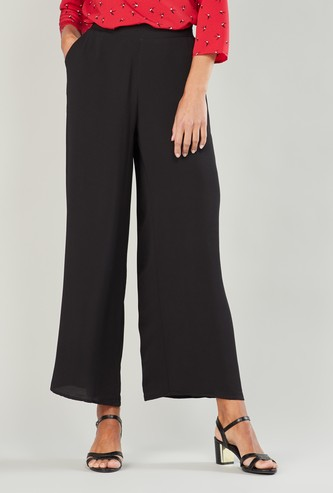 Plain Palazzo Pants with Pocket Detail and Elasticised Waistband