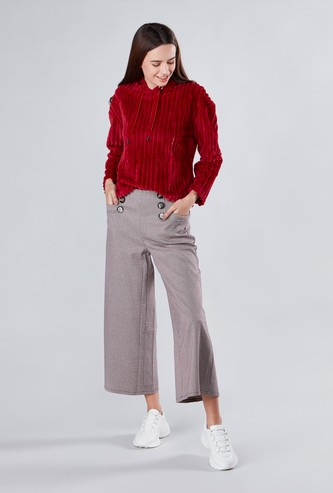 Wide Fit Chequered Mid Waist Culottes with Elasticised Waistband