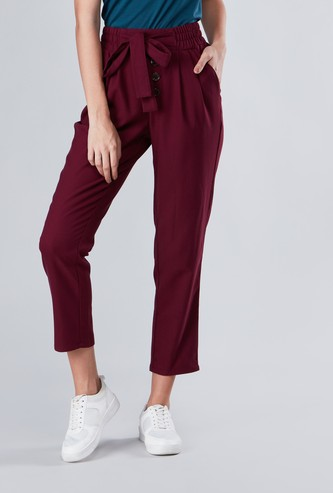 Plain Cropped Pants with Tie-Up Closure and Button Detail