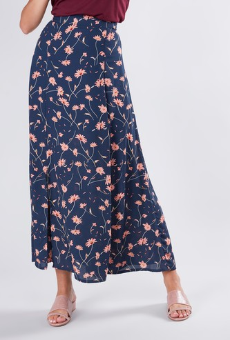 Printed Maxi A-line Skirt with Side Slit and Elasticised Waistband