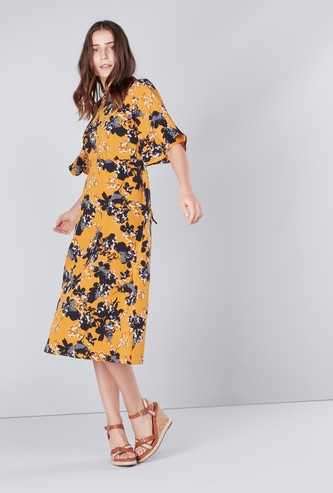 Floral Printed A-line Midi Dress with High Neck and Flared Sleeves