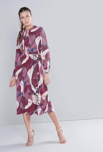 فستان إيه لاين متوسط الطول بأكمام طويلة وأربطة وطبعات