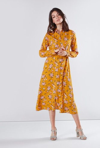 Printed Midi Shirt Dress with Long Sleeves