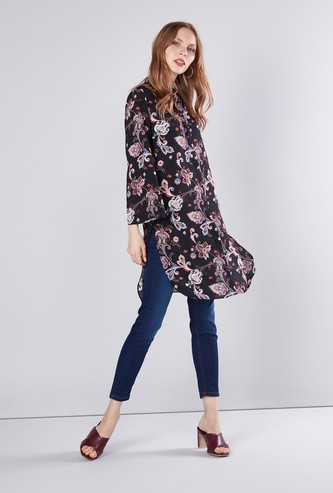 Floral Printed Tunic with Mandarin Collar and Long Sleeves