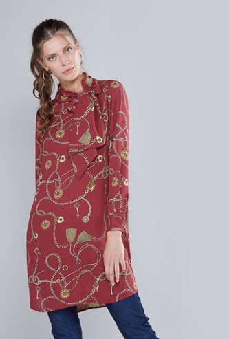 Printed Neck-Tie Tunic with Long Sleeves