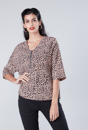 Animal Printed Top with V-neck and Zip Detail