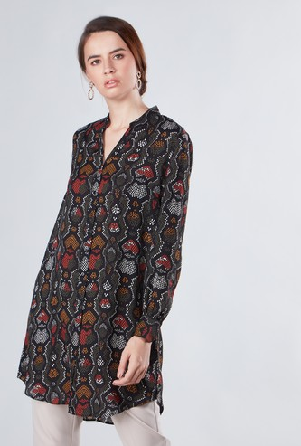 Printed Tunic with V-neck and Long Sleeves