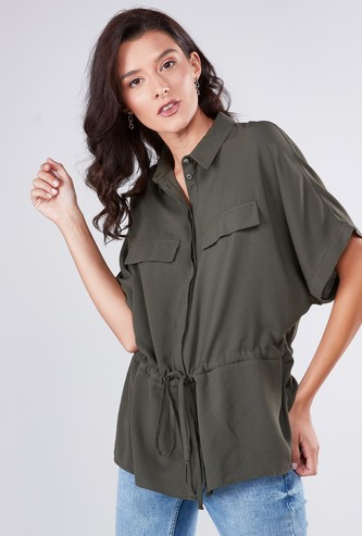 Solid Collared Boxy Shirt with Extended Sleeves and Drawstring Detail