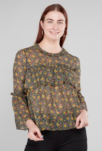 Floral Printed Top with Round Neck and Frill Detail