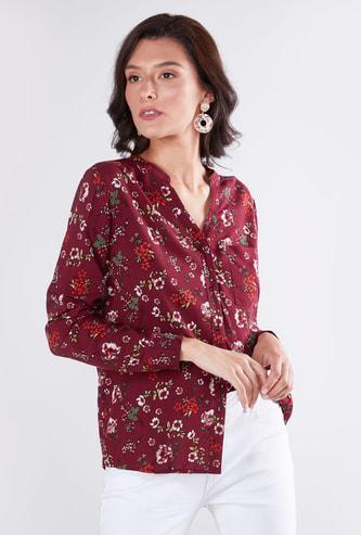Floral Printed Shirt with Mandarin Collar and Long Sleeves