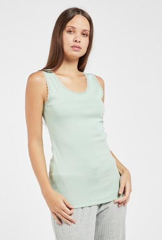 Solid Sleeveless Vest with Round Neck and Lace Detail