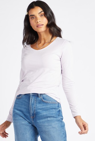 Solid V-Neck T-shirt with Long Sleeves
