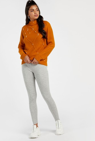 Full Length Solid Mid-Rise Warm Leggings with Elasticised Waistband