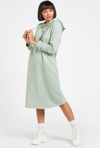 Solid Sweatshirt Dress with Hood and Long Sleeves