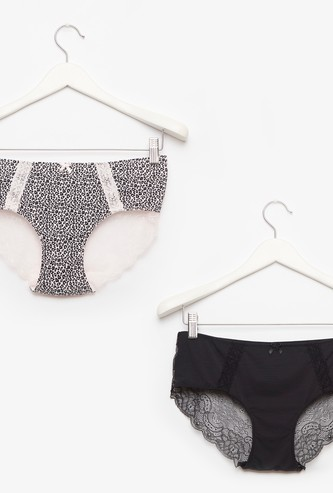 Set of 2 - Lace Detail Mid-Rise Hipster Briefs with Elasticised Waist