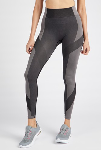 Colourblocked Jacquard Textured Seamless Leggings