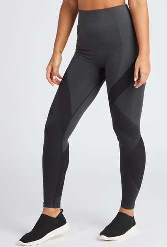 Full Length Seamless Textured Leggings with Elasticated High Rise Waist