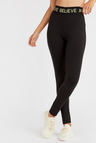 Solid Leggings with Printed Elasticised Waistband