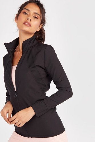 Solid High Neck Jacket with Long Sleeves and Zip Closure