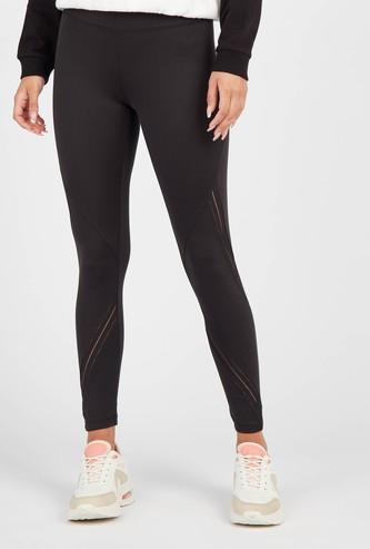 Slim Fit Solid Mid-Rise Leggings with Elasticated Waist