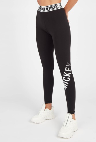 Mickey Mouse Typographic Print Full Length Leggings