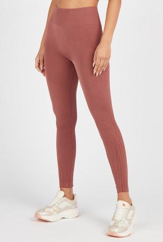 Textured Full-Length High-Rise Seamless Leggings
