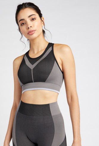Slim Fit Textured Sports Bra with Racerback
