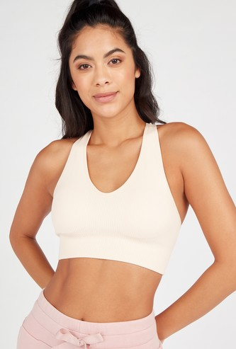 Slim Fit Textured Sports Bra with Back Strap Detail