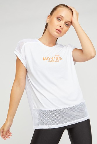 Text Print T-shirt with Mesh Detail and Cap Sleeves