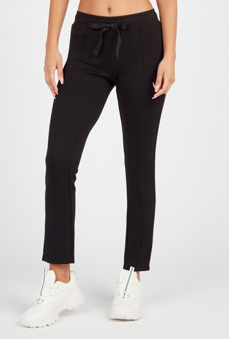 Solid Mid-Rise Track Pants with Drawstring Waist Tie Up