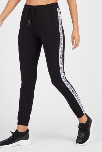 Solid Joggers with Printed Tape Detail and Drawstring