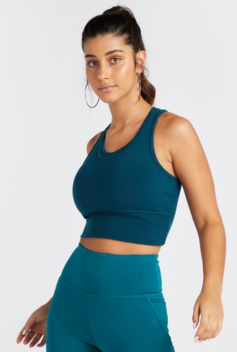 Slim Fit Textured Multi Strap Sports Bra with Rib Detail