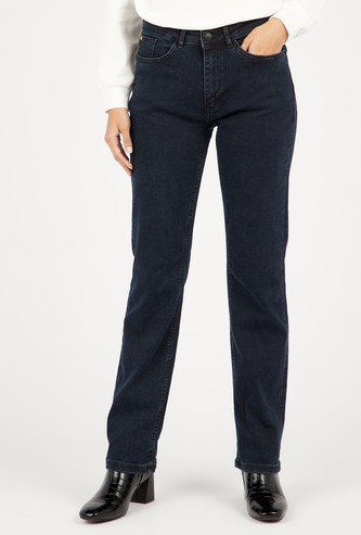 Full Length Mid-Rise Boot Cut Jeans with Pockets and Belt Loops