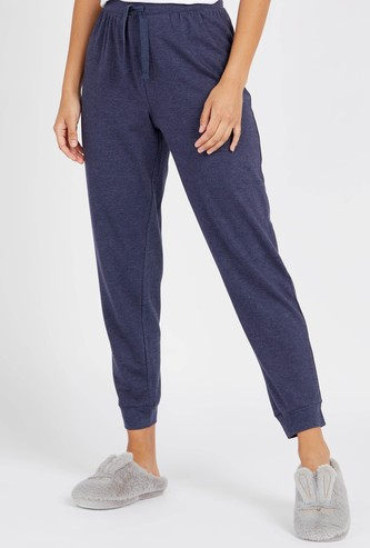 Solid Pyjamas with Elasticised Waistband and Drawstring