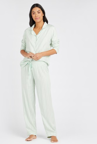 Striped Collared Shirt and Full Length Pyjama Set
