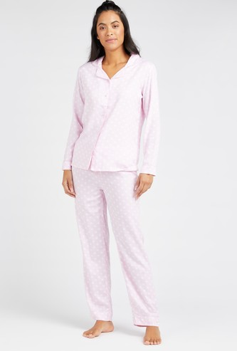 Polka Dot Print Long Sleeves Shirt and Full Length Pyjama Set