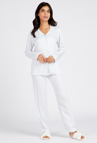 All-Over Star Print Sleepshirt and Full Length Pyjama Set